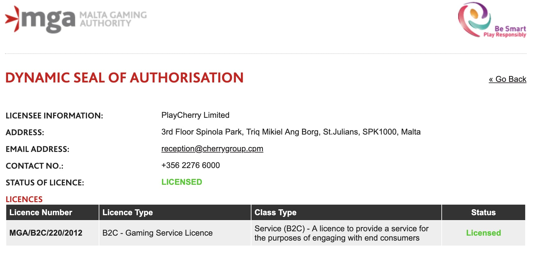 cherrycasino-license