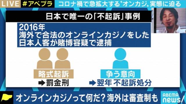 abemaTV オンラインカジノ逮捕事例